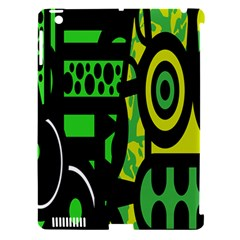 Half Grower Banner Polka Dots Circle Plaid Green Black Yellow Apple Ipad 3/4 Hardshell Case (compatible With Smart Cover) by Mariart