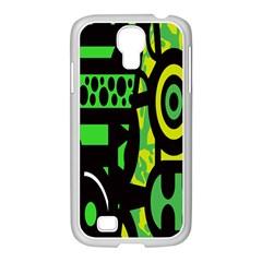 Half Grower Banner Polka Dots Circle Plaid Green Black Yellow Samsung Galaxy S4 I9500/ I9505 Case (white) by Mariart