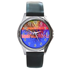Glitchdrips Shadow Color Fire Round Metal Watch by Mariart