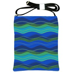 Geometric Line Wave Chevron Waves Novelty Shoulder Sling Bags by Mariart