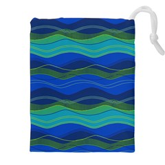 Geometric Line Wave Chevron Waves Novelty Drawstring Pouches (xxl) by Mariart
