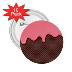 Ice Cream Pink Choholate Plaid Chevron 2 25  Buttons (10 Pack)  by Mariart