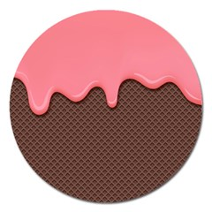 Ice Cream Pink Choholate Plaid Chevron Magnet 5  (round) by Mariart