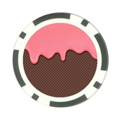 Ice Cream Pink Choholate Plaid Chevron Poker Chip Card Guard by Mariart