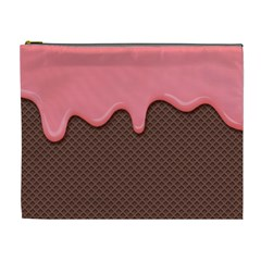 Ice Cream Pink Choholate Plaid Chevron Cosmetic Bag (xl) by Mariart