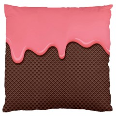 Ice Cream Pink Choholate Plaid Chevron Large Cushion Case (two Sides) by Mariart