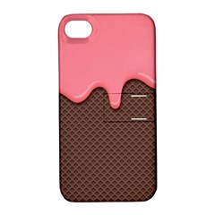 Ice Cream Pink Choholate Plaid Chevron Apple Iphone 4/4s Hardshell Case With Stand by Mariart