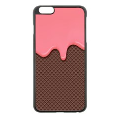 Ice Cream Pink Choholate Plaid Chevron Apple Iphone 6 Plus/6s Plus Black Enamel Case by Mariart