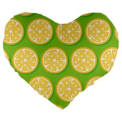 Lime Orange Yellow Green Fruit Large 19  Premium Heart Shape Cushions by Mariart