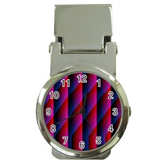 Photography Illustrations Line Wave Chevron Red Blue Vertical Light Money Clip Watches by Mariart