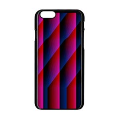 Photography Illustrations Line Wave Chevron Red Blue Vertical Light Apple Iphone 6/6s Black Enamel Case by Mariart
