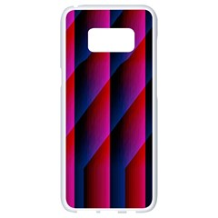 Photography Illustrations Line Wave Chevron Red Blue Vertical Light Samsung Galaxy S8 White Seamless Case by Mariart