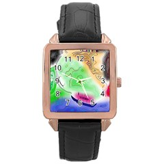 Mirror Light Rose Gold Leather Watch  by Mariart