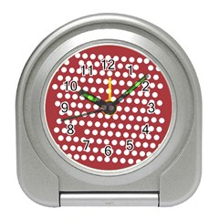 Pink White Polka Dots Travel Alarm Clocks by Mariart