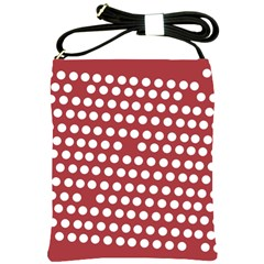 Pink White Polka Dots Shoulder Sling Bags by Mariart