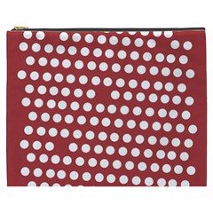 Pink White Polka Dots Cosmetic Bag (xxxl)  by Mariart