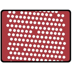Pink White Polka Dots Double Sided Fleece Blanket (large)  by Mariart