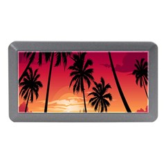 Nature Palm Trees Beach Sea Boat Sun Font Sunset Fabric Memory Card Reader (mini) by Mariart