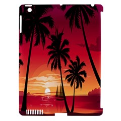 Nature Palm Trees Beach Sea Boat Sun Font Sunset Fabric Apple Ipad 3/4 Hardshell Case (compatible With Smart Cover) by Mariart