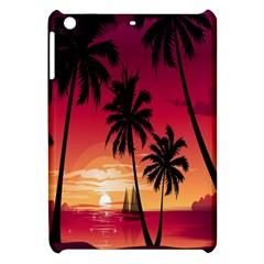 Nature Palm Trees Beach Sea Boat Sun Font Sunset Fabric Apple Ipad Mini Hardshell Case by Mariart