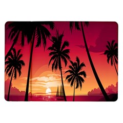 Nature Palm Trees Beach Sea Boat Sun Font Sunset Fabric Samsung Galaxy Tab 10 1  P7500 Flip Case by Mariart
