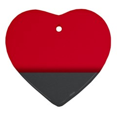 Red Gray Flag Line Horizontal Heart Ornament (two Sides) by Mariart
