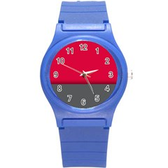 Red Gray Flag Line Horizontal Round Plastic Sport Watch (s) by Mariart