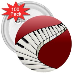 Piano Keys Music 3  Buttons (100 Pack)  by Mariart
