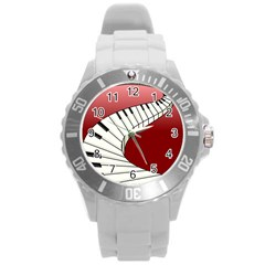 Piano Keys Music Round Plastic Sport Watch (l) by Mariart