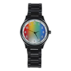 Rainbow Flag Simple Stainless Steel Round Watch by Mariart