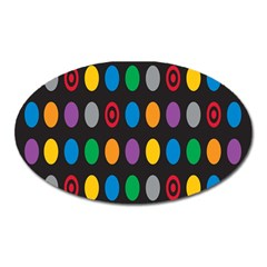 Polka Dots Rainbow Circle Oval Magnet by Mariart