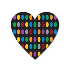 Polka Dots Rainbow Circle Heart Magnet by Mariart