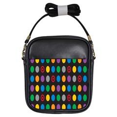 Polka Dots Rainbow Circle Girls Sling Bags by Mariart