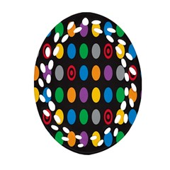 Polka Dots Rainbow Circle Oval Filigree Ornament (two Sides) by Mariart