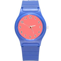 Coral Solid Color  Round Plastic Sport Watch (s) by SimplyColor