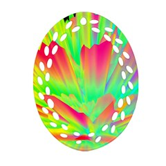 Screen Random Images Shadow Green Yellow Rainbow Light Oval Filigree Ornament (two Sides) by Mariart