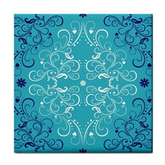 Repeatable Flower Leaf Blue Face Towel by Mariart