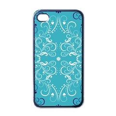 Repeatable Flower Leaf Blue Apple Iphone 4 Case (black) by Mariart