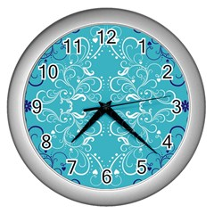 Repeatable Flower Leaf Blue Wall Clocks (silver)  by Mariart