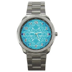 Repeatable Flower Leaf Blue Sport Metal Watch by Mariart