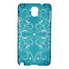 Repeatable Flower Leaf Blue Samsung Galaxy Note 3 N9005 Hardshell Case by Mariart