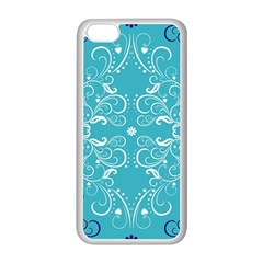 Repeatable Flower Leaf Blue Apple Iphone 5c Seamless Case (white) by Mariart