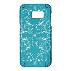 Repeatable Flower Leaf Blue Samsung Galaxy S7 Hardshell Case  by Mariart