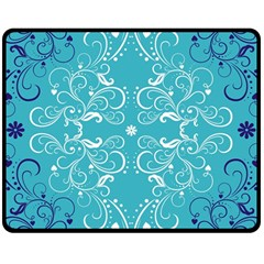 Repeatable Flower Leaf Blue Double Sided Fleece Blanket (medium)  by Mariart