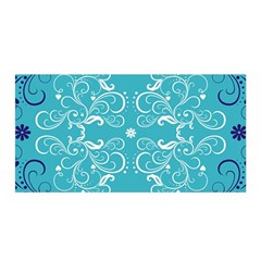 Repeatable Flower Leaf Blue Satin Wrap by Mariart