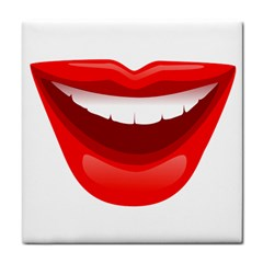Smile Lips Transparent Red Sexy Tile Coasters by Mariart