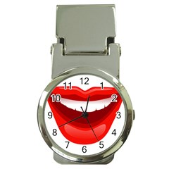 Smile Lips Transparent Red Sexy Money Clip Watches by Mariart