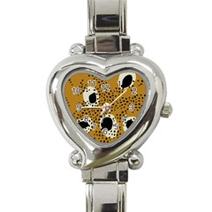 Surface Patterns Spot Polka Dots Black Heart Italian Charm Watch by Mariart