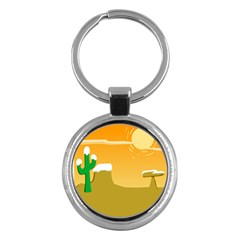 Sunrise Sunset Desert Sun Light Orange Ice Snow Key Chains (round)  by Mariart
