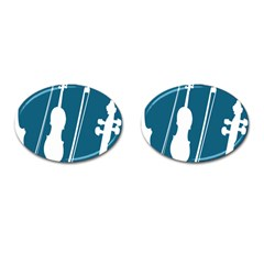 Violin Music Blue Cufflinks (oval) by Mariart